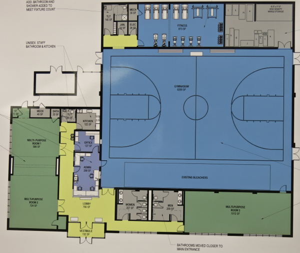 Fitness room at top, in blue, takes over space devoted to showers.