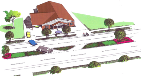 City drawing shows one median change: cuts to allows left turns into and out of King Funeral Home.