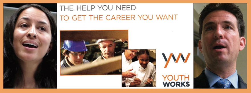 Danielle Frazier, director of Youth Works; front of Youth Works brochure; Steve Partridge, CEO of Charlotte Works