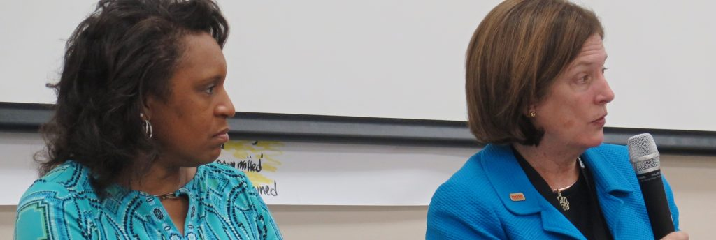 Chiquitha Lloyd, CMS Director of Diversity and Inclusion, left, and CMS Supt. Ann Clark.