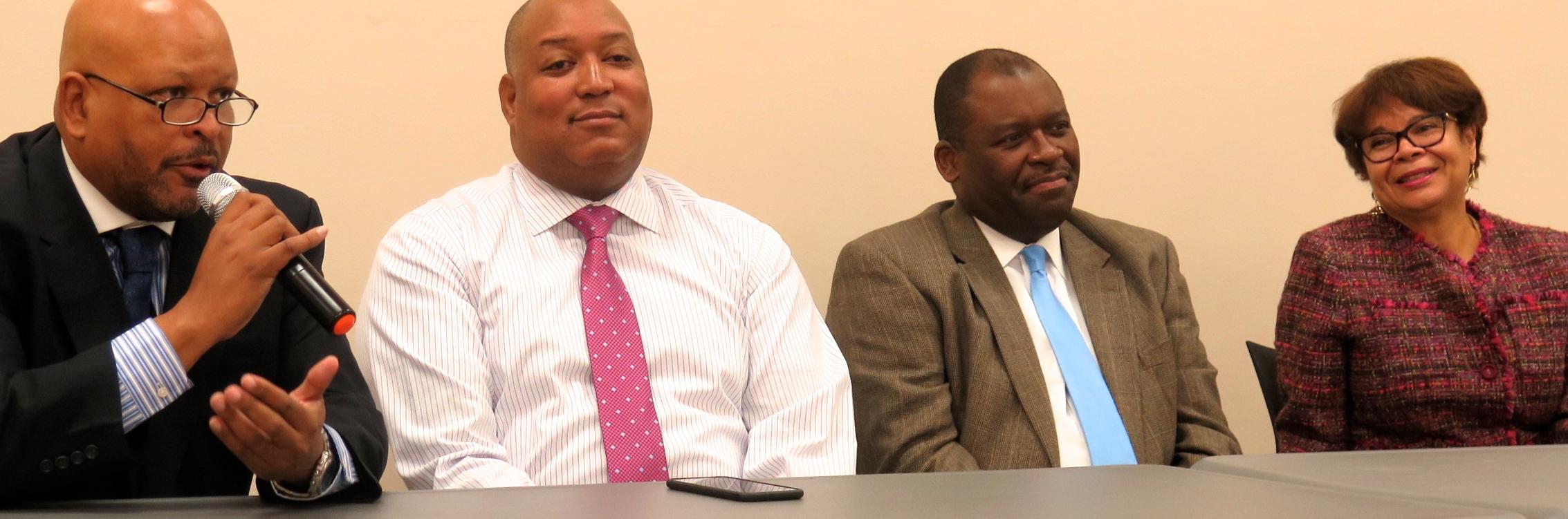 From left: N.C. Rep. Rodney Moore; N.C. Sen. Joel Ford; County Commissioner Trevor Fuller; and Charlotte Mayor Pro tem Vi Lyles.
